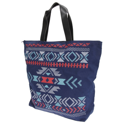 Navy - Front - FLOSO Womens-Ladies Cotton Rich Aztec Print Top Handle Handbag