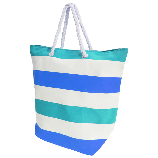 White-Blue - Front - FLOSO Womens-Ladies Stripe Patterned Canvas Summer Handbag