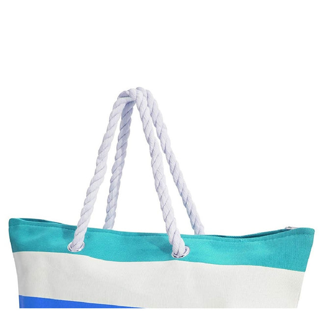 White-Blue - Back - FLOSO Womens-Ladies Stripe Patterned Canvas Summer Handbag
