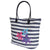 White-Navy - Front - FLOSO Womens-Ladies Floral Stripe Patterned Straw Woven Summer Handbag