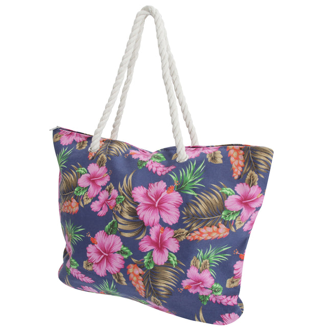 Navy - Front - FLOSO Womens-Ladies Floral Patterned Canvas Summer Handbag