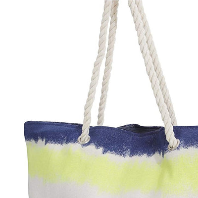 Yellow-Navy-Brown-Blue - Back - FLOSO Womens-Ladies Faded Stripe Design Canvas Summer Handbag