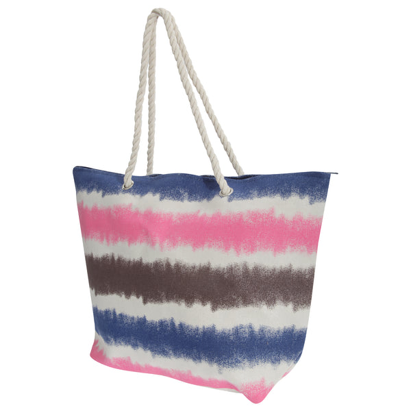 Navy-White-Pink-Grey - Front - FLOSO Womens-Ladies Faded Stripe Design Canvas Summer Handbag