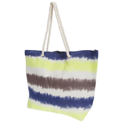 Yellow-Navy-Brown-Blue - Front - FLOSO Womens-Ladies Faded Stripe Design Canvas Summer Handbag