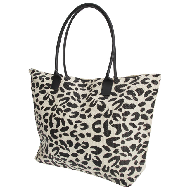 Leopard - Front - FLOSO Womens-Ladies Animal Print Woven Summer Handbag