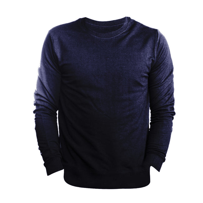 Marl Blue - Front - FLOSO Mens Slim Fit British Made Sweatshirt (240gsm)