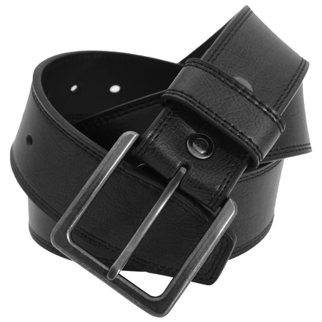 Black - Front - FLOSO Mens 1.5 Inch Leather Lined Belt