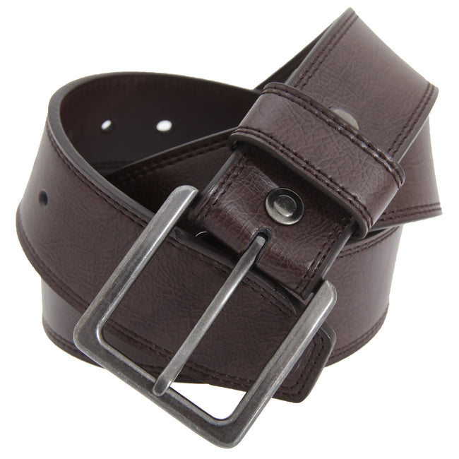 Brown - Front - FLOSO Mens 1.5 Inch Leather Lined Belt