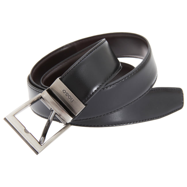 Black - Front - FLOSO Mens Reversible Leather Belt