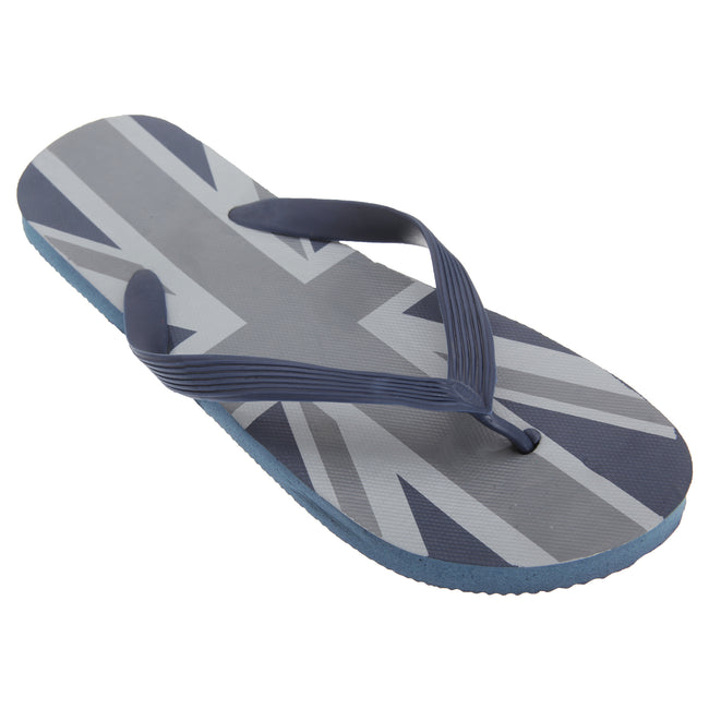 Navy-Grey - Front - FLOSO Mens Union Jack Design Great Britain Summer Wear Flip Flops
