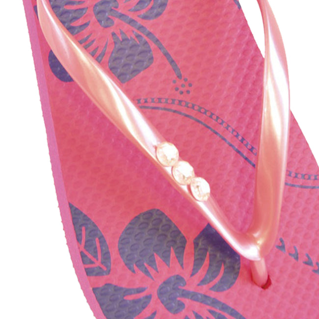 Pink - Back - FLOSO Ladies-Womens Hibiscus Printed Flip Flops With Jewel Trim