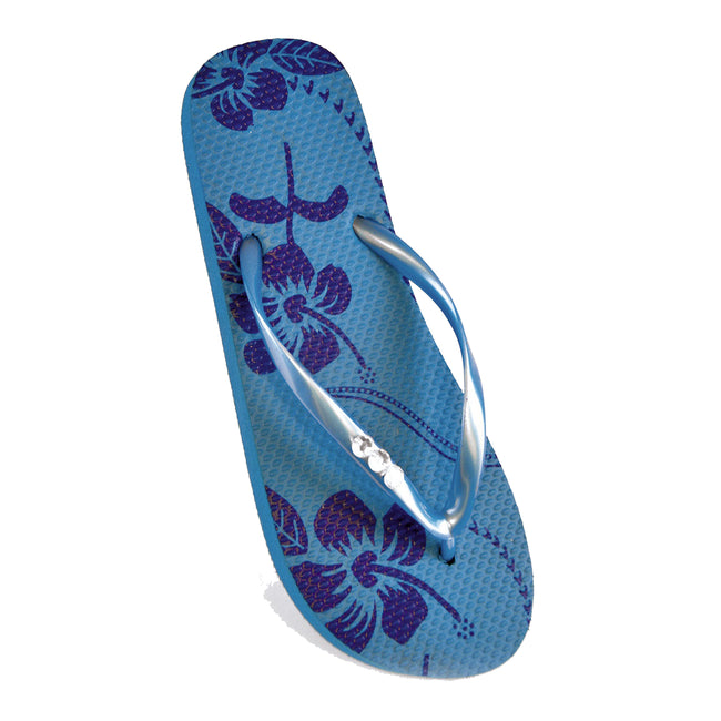 Blue - Front - FLOSO Ladies-Womens Hibiscus Printed Flip Flops With Jewel Trim