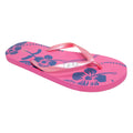 Pink - Front - FLOSO Ladies-Womens Hibiscus Printed Flip Flops With Jewel Trim