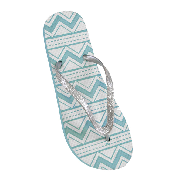 Blue - Front - FLOSO Ladies-Womens Aztec Print Flip Flops With Glitter Straps