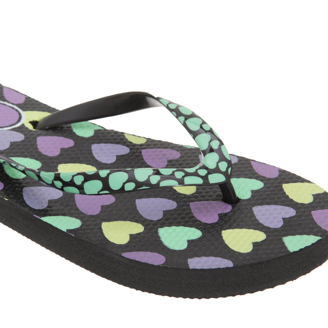 Black - Back - FLOSO Girls Heart Print Flip Flops With Heart Printed Strap