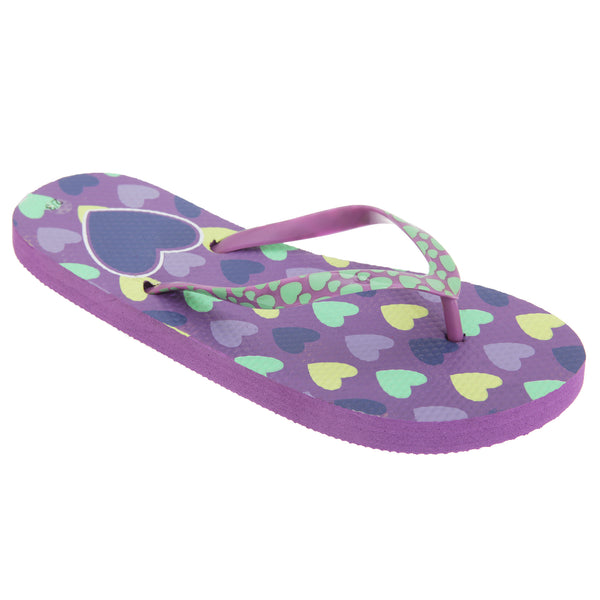 Lilac - Front - FLOSO Girls Heart Print Flip Flops With Heart Printed Strap