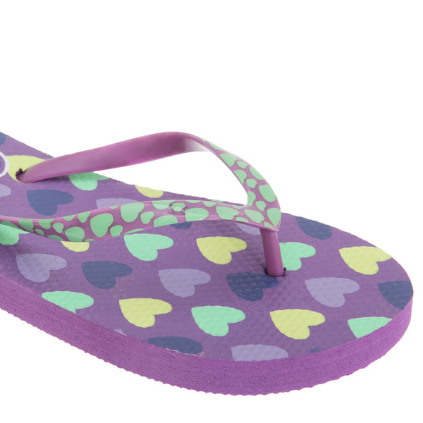Lilac - Back - FLOSO Girls Heart Print Flip Flops With Heart Printed Strap