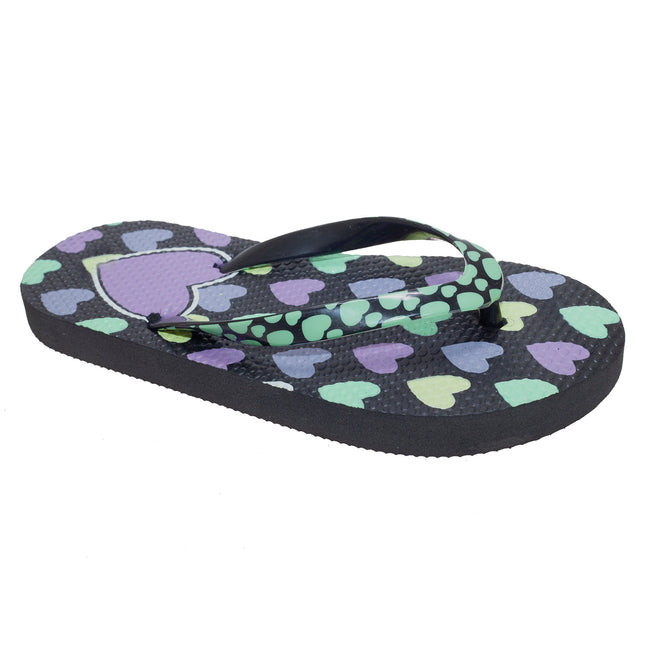 Black - Front - FLOSO Girls Heart Print Flip Flops With Heart Printed Strap