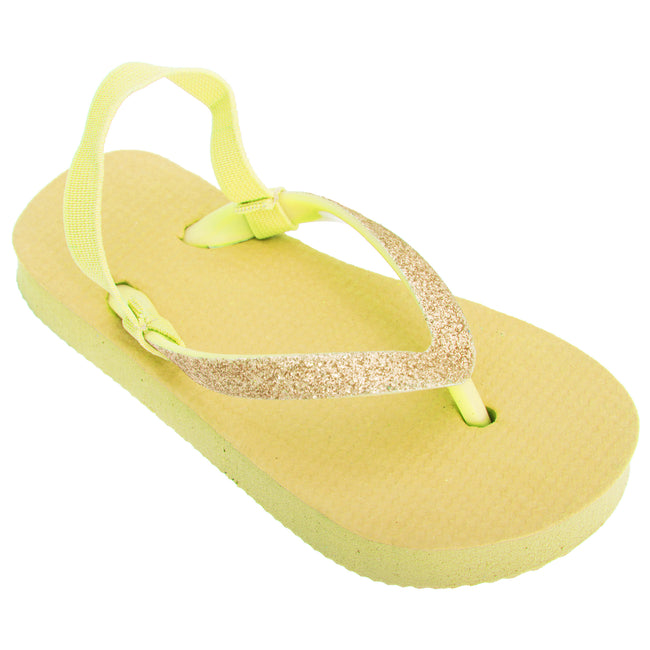 Yellow - Front - FLOSO Childrens Girls Plain Toe Post Flip Flops With Glitter Strap