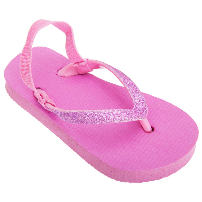 Purple - Front - FLOSO Childrens Girls Plain Toe Post Flip Flops With Glitter Strap