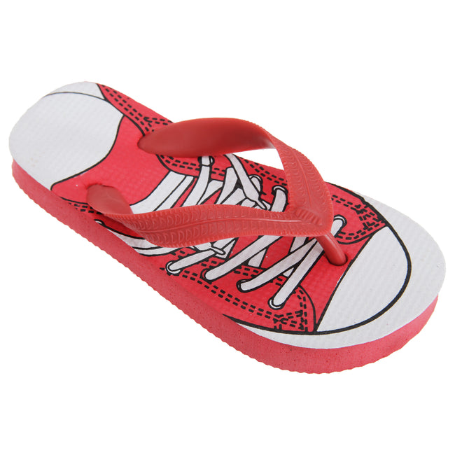 Red - Front - FLOSO Childrens Boys Lace Up Trainer Design Toe Post Flip Flops