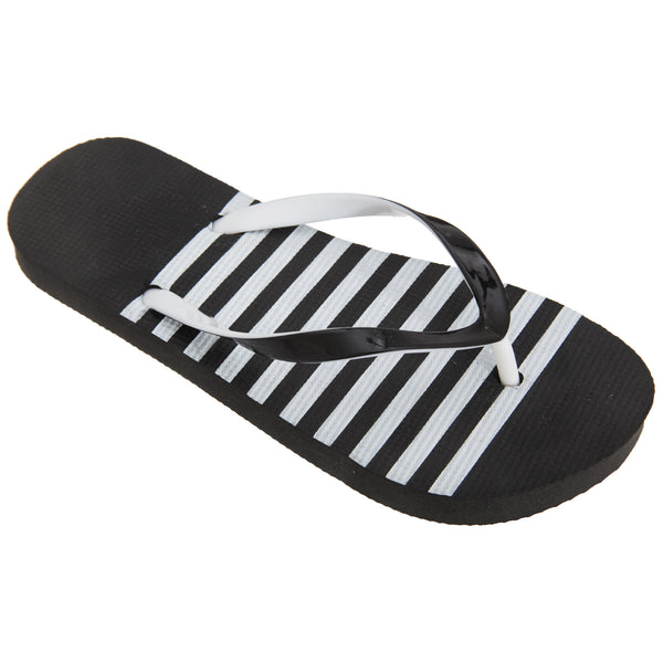Black-White - Front - FLOSO Womens-Ladies Striped Toe Post Flip Flops