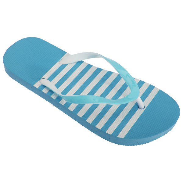 Blue-White - Front - FLOSO Womens-Ladies Striped Toe Post Flip Flops