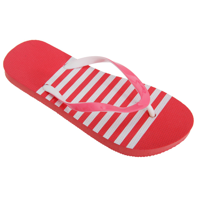 Pink-White - Front - FLOSO Womens-Ladies Striped Toe Post Flip Flops