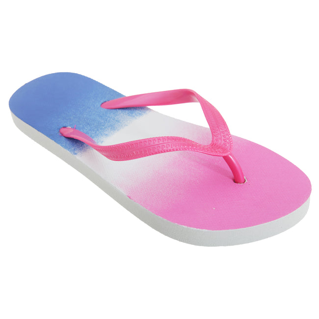 Fuchsia-Navy - Front - FLOSO Womens-Ladies Two Tone Colour Fade Toe Post Flip Flops