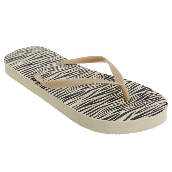 Zebra Print - Front - FLOSO Womens-Ladies Animal Print Toe Post Flip Flops