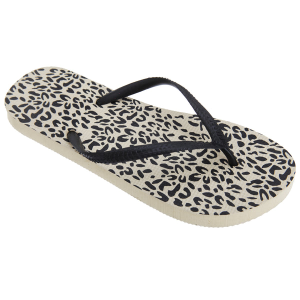 Leopard Print - Front - FLOSO Womens-Ladies Animal Print Toe Post Flip Flops