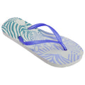 White-Blue - Front - FLOSO Womens-Ladies Zebra Pattern Toe Post Flip Flops