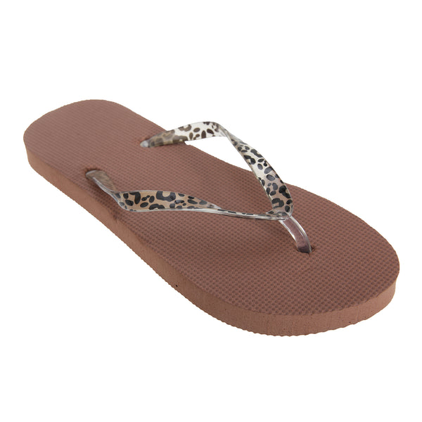 Brown - Front - FLOSO Womens-Ladies Toe Post Flip Flops With Leopard Print Strap