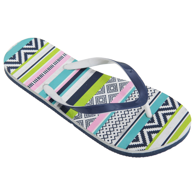 Green-Pink-Blue - Front - FLOSO Womens-Ladies Aztec Pattern Toe Post Flip Flops