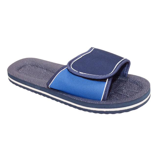 Navy-Blue - Front - FLOSO Mens Two Tone Touch Fastening Flip Flops