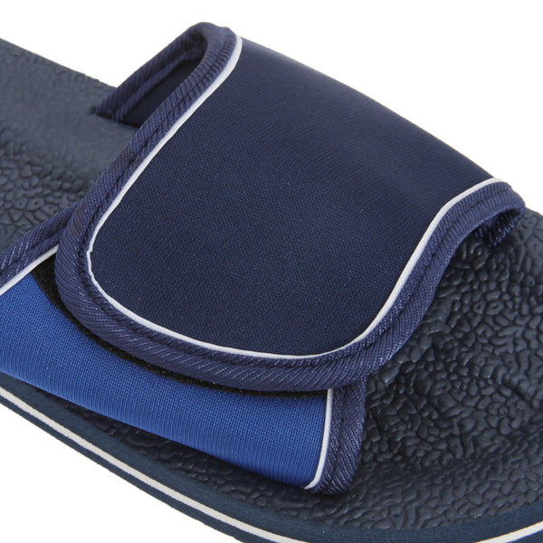 Navy-Blue - Back - FLOSO Mens Two Tone Touch Fastening Flip Flops