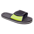 Black-Lime - Front - FLOSO Mens Two Tone Touch Fastening Flip Flops