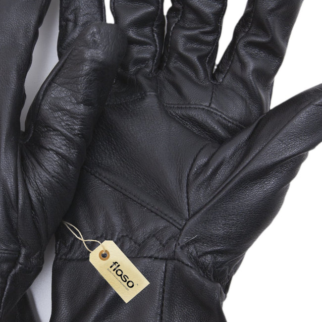 Black - Back - FLOSO Mens Genuine Leather Gloves