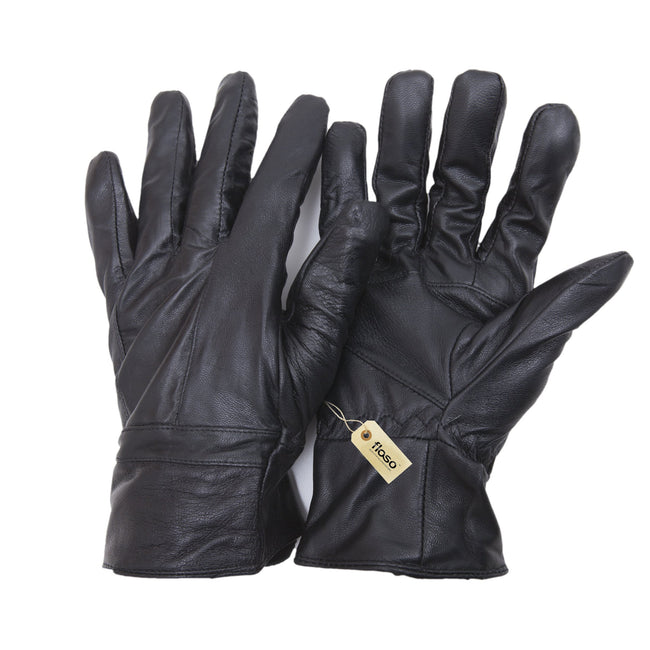 Black - Front - FLOSO Mens Genuine Leather Gloves