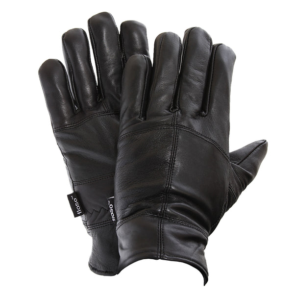 Black - Front - FLOSO Mens Thinsulate Lined Genuine Leather Gloves (3M 40g)