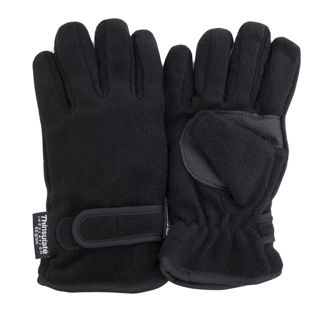 Black - Front - FLOSO Childrens-Kids Thermal Thinsulate Fleece Gloves With Palm Grip (3M 40g)