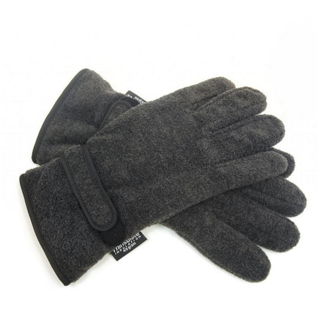 Charcoal - Back - FLOSO Mens Thinsulate Thermal Fleece Gloves With Palm Grip (3M 40g)