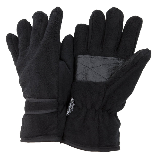 Black - Front - FLOSO Mens Thinsulate Thermal Fleece Gloves With Palm Grip (3M 40g)