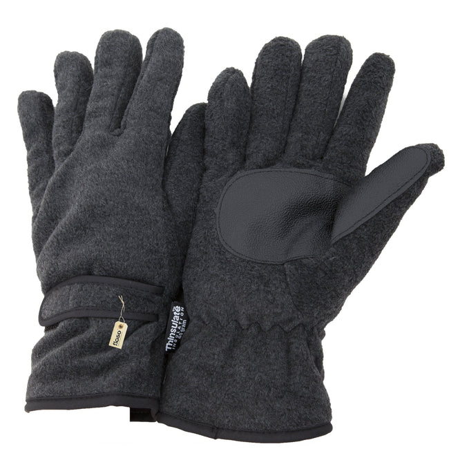 Charcoal - Front - FLOSO Mens Thinsulate Thermal Fleece Gloves With Palm Grip (3M 40g)