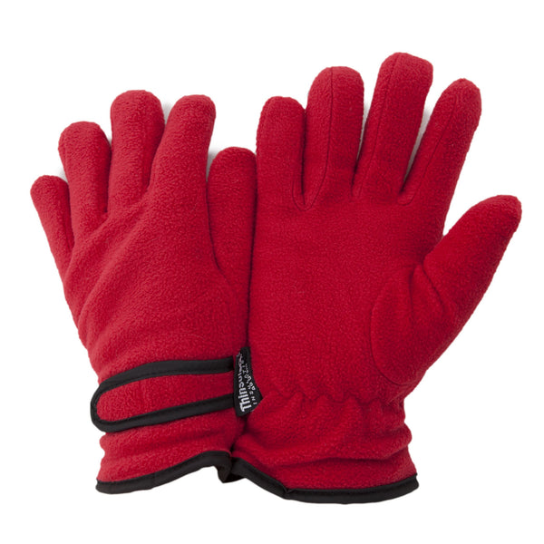Red - Front - FLOSO Ladies-Womens Thinsulate Fleece Thermal Gloves (3M 40g)
