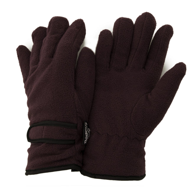 Purple - Front - FLOSO Ladies-Womens Thinsulate Fleece Thermal Gloves (3M 40g)