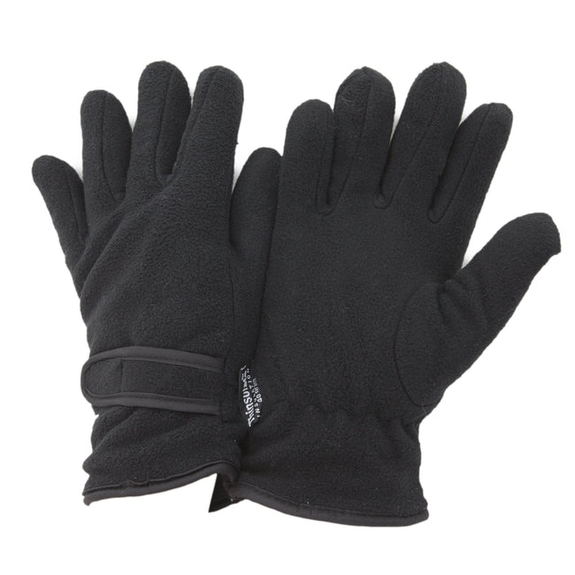 Black - Front - FLOSO Ladies-Womens Thinsulate Fleece Thermal Gloves (3M 40g)