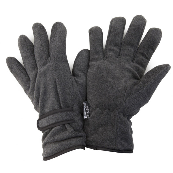 Grey - Front - FLOSO Mens Thinsulate Winter Thermal Fleece Gloves (3M 40g)