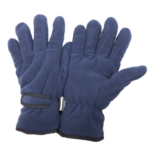 Navy - Front - FLOSO Mens Thinsulate Winter Thermal Fleece Gloves (3M 40g)