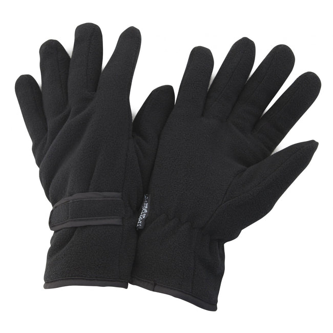Black - Front - FLOSO Mens Thinsulate Winter Thermal Fleece Gloves (3M 40g)